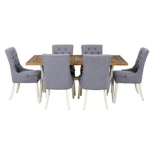 Byron 1800 Dining Table with 6x Gallery Dining Chairs in Grey with Ivory Legs