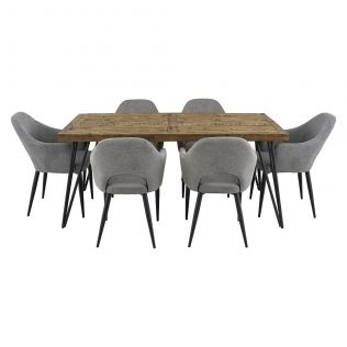 Oslo 1800 Dining Package with Crawford Dining Chairs Mushroom