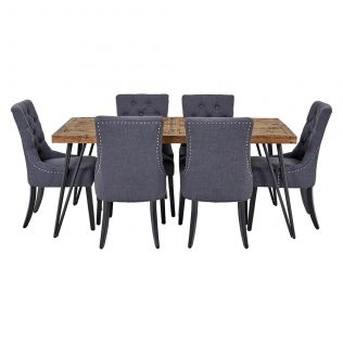 Oslo 1800 Dining Table & 6x Gallery Dining Chairs in Charcoal with Black Legs