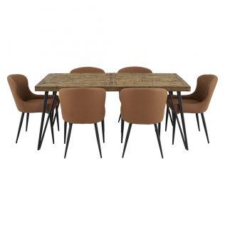 Oslo 1800 Dining Package with Milton Dining Chairs Tan