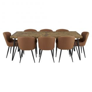 Oslo 2200 Dining Package with Milton Dining Chairs Tan