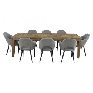 Oslo 2500 Patchwork Dining Package with Crawford Dining Chairs Mushroom