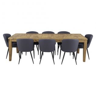 Oslo 2500 Patchwork Dining Package with Milton Dining Chairs Grey