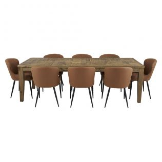 Oslo 2500 Patchwork Dining Package with Milton Dining Chairs Tan