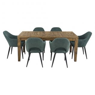 Oslo 1800 Patchwork Dining Package with Crawford Dining Chairs Forest
