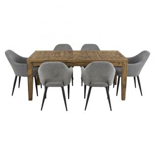 Oslo 1800 Patchwork Dining Package with Crawford Dining Chairs Mushroom
