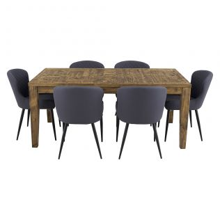 Oslo 1800 Patchwork Dining Package with Milton Dining Chairs Grey