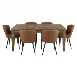 Oslo 1800 Patchwork Dining Package with Milton Dining Chairs Tan