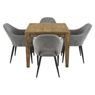 Oslo 900 Patchwork Dining Package with Crawford Dining Chairs Mushroom