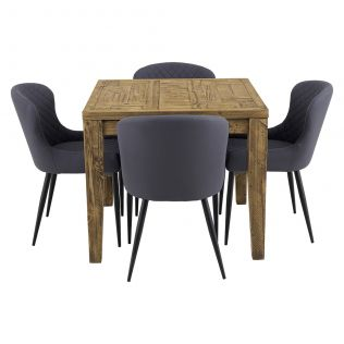 Oslo 900 Patchwork Dining Package with Milton Dining Chairs Grey