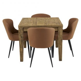 Oslo 900 Patchwork Dining Package with Milton Dining Chairs Tan
