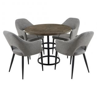 Newcastle 1000 Round Dining Package with Crawford Dining Chairs Mushroom