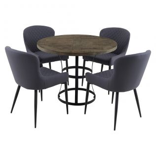 Newcastle 1000 Round Dining Package with Milton Dining Chairs Grey