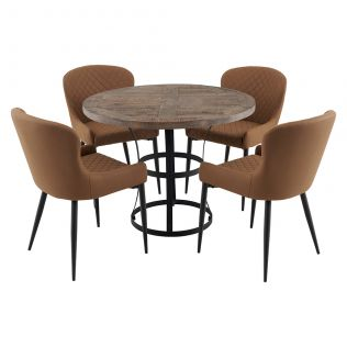 Newcastle 1000 Round Dining Package with Milton Dining Chairs Tan
