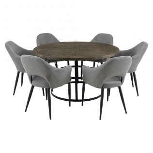 Newcastle 1400 Round Dining Package with Crawford Dining Chairs Mushroom