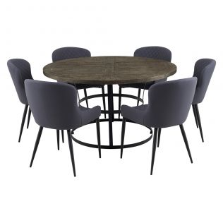 Newcastle 1400 Round Dining Package with Milton Dining Chairs Grey
