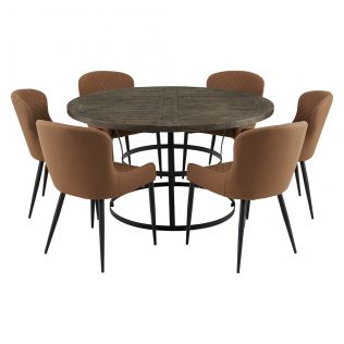 Newcastle 1400 Round Dining Package with Milton Dining Chairs Tan