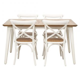 Nova 1400 Dining Package with French Cross Dining Chairs White