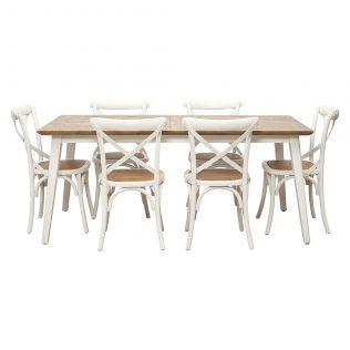 Nova 1800 Dining Package with French Cross Dining Chairs White