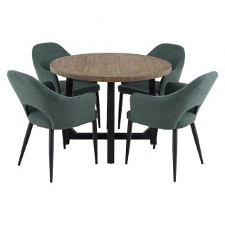 New Oxford 1100 Round Dining Package with Crawford Dining Chairs Forest