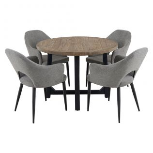New Oxford 1100 Round Dining Package with Crawford Dining Chairs Mushroom