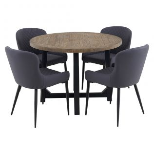New Oxford 1100 Round Dining Package with Milton Dining Chairs Grey