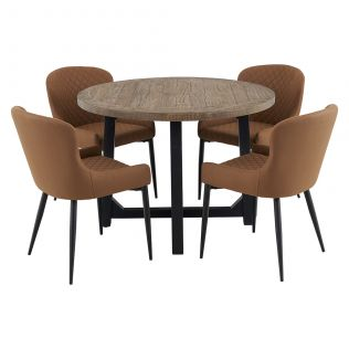 New Oxford 1100 Round Dining Package with Milton Dining Chairs Tan