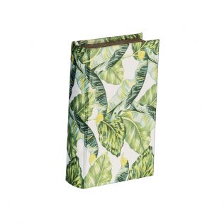 Botanical Green and White Book Box Small