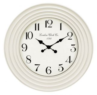 White Clock with Rippled Decorative Edges