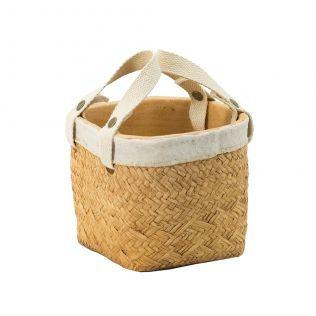 Natural Planter with Cotton Handles Small