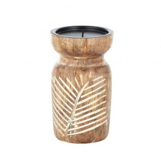 Spruce Wood Candle Holder Natural/White