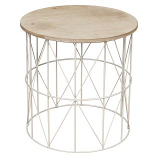 Cheyenne Metal Side Table with Timber Top Small