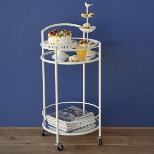 Osman Metal Side Table on Wheels with Mirrored Top
