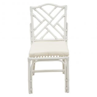 Chippendale Rattan Dining Chair Matte White