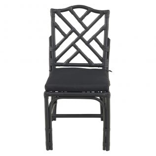 Chippendale Rattan Dining Chair Matte Black