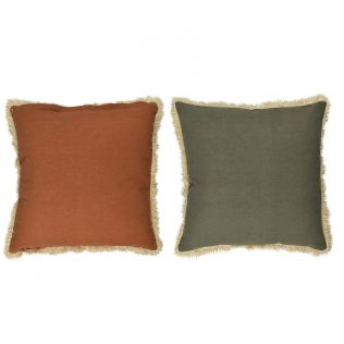 Sybill Cotton Reversible Cushion Rust/Olive