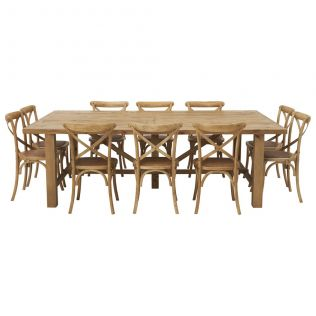 Vintage 2500x1500 Dining Package with French Cross Chairs