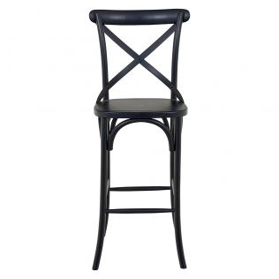 French Cross Bar Stool with Timber Seat Matte Black
