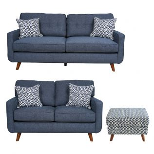 Hollywood 2.5 and 2 Seater Sofas and Ottoman Package in Denim