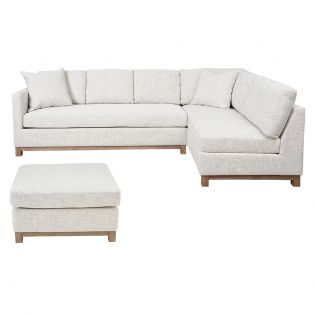 Monique Corner Modular Right Hand Facing Light Sofa Package with Ottoman