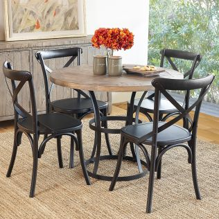 Newcastle 1000 Dining Package with French Cross Dining Chairs (Timber Seat) Matte Black