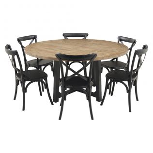 New Oxford 1600 Dining Package with French Cross Chairs Black