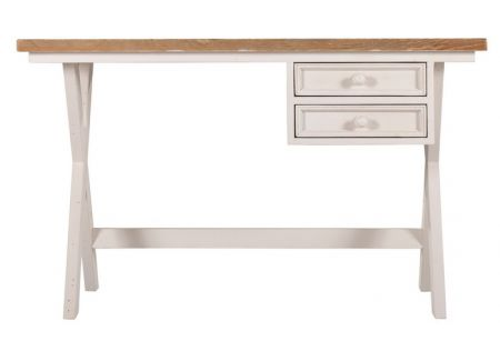 Byron Desk | Byron Desk Feature Timber Tops | Byron Desk Ivory Wash | Byron Desk Side | Byron Desk with Cross Back Chairs
