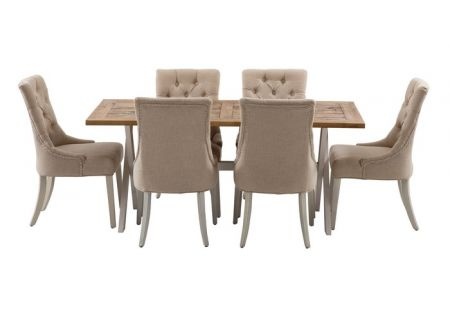 Byron 1800 Dining Package with 6x Gallery Dining Chairs in Beige with Ivory Legs