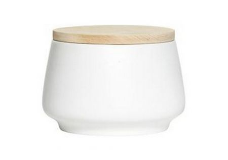 Matte Canister with Wooden Lid Large