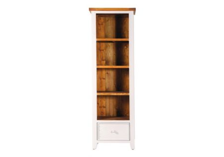 Tuscan Slim Bookcase | Tuscan Slim Bookcase Ivory Wash | Tuscan Slim Bookcase with 4 Shelves/Deep Drawer | Tuscan Slim Bookcase Side