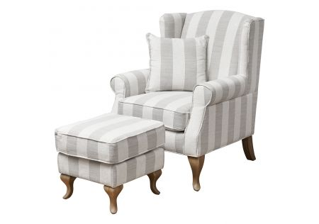 Sophia Wingback Chair & Ottoman with Beige Stripes