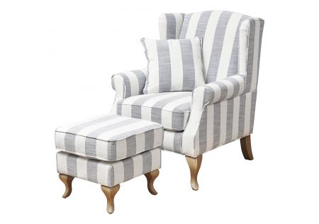Sophia Wingback Chair & Ottoman with Blue Stripes