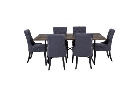 Soro 2000 Dining Table & 6x Gallery Dining Chairs in Charcoal with Black Legs