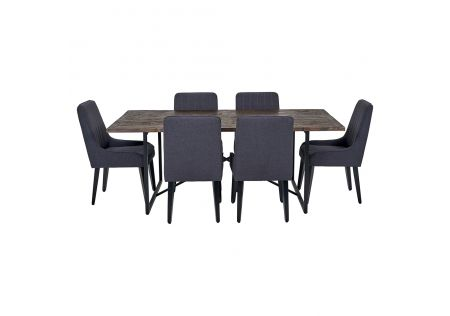 Soro 2000 Dining Table & 6x Sergio Dining Chairs in Charcoal with Black Legs
